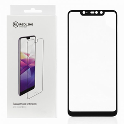 RED LINE для Xiaomi Redmi Note 9 Pro Full screen tempered glass FULL GLUE черный защитное стекло